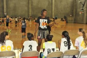 Gabby Green of Cal coaching the girls