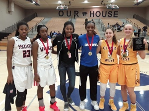 Smith All-tournament team members - Marshall, Lewis, Davis, Onyenware, Bates and Campbell (Photo Credit Bob Corwin)