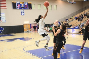 Ariel Johnson (32) St. Mary's Stockton going up for a shot (Credit Joseph Fenelon)