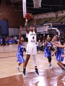 Elizabeth Balogun (#4) of Hamilton Heights going up for a shot (Credit Joseph Fenelon)